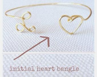 Initial Bracelet Gold, Heart Bracelet, Personalized Bracelet For Women, Bridesmaids Bracelet, Custom Jewelry