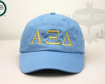 Alpha Xi Delta Greek Only Sorority Baseball Cap - Custom Color Hat and Embroidery.