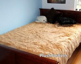 Mongolian Faux Fur Bedding Pink White Mongolian by