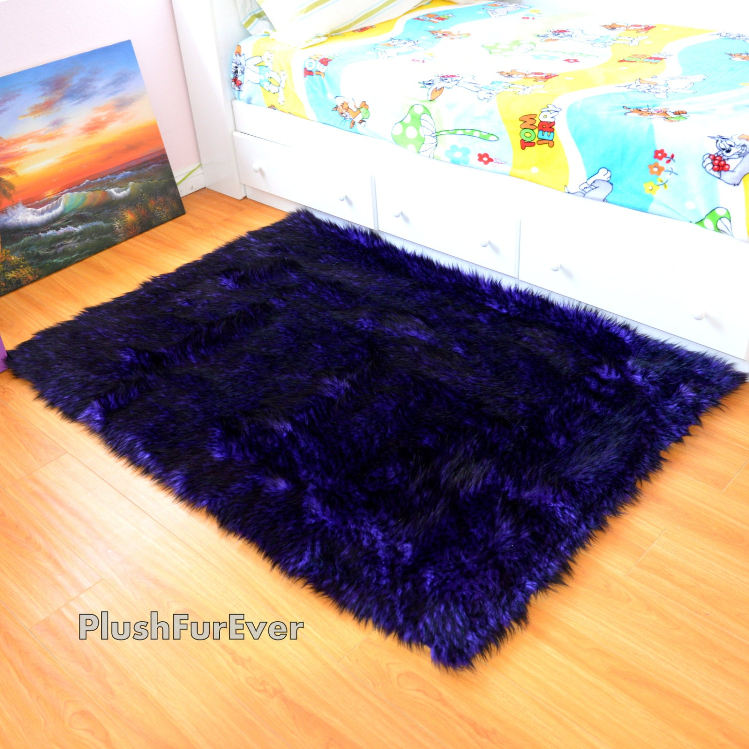 Wolf Fur Rug 4' X 5' Purple Black Throw Rugs Area By