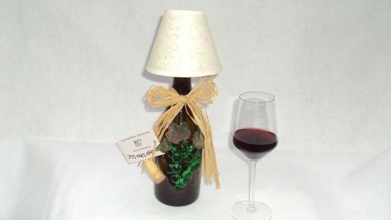 Wine bottle lamp with shade in an amber green by for Wine cork lampshade