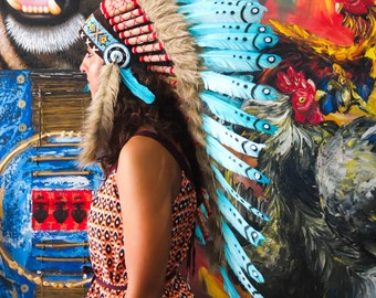 The Original - Real Feather Light Blue Chief Indian Headdress Replica 90cm, Native American Style Costume Hand Made War Bonnet Hat