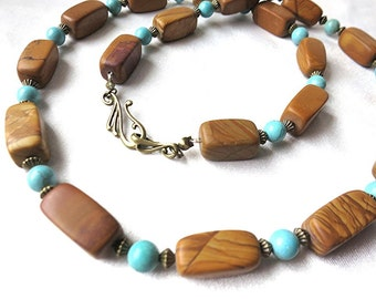 Earthy tiger jasper, bronze & turquoise necklace. Boho, chunky statement jewelry in blue, gold, and brown. Southwestern style. Long length
