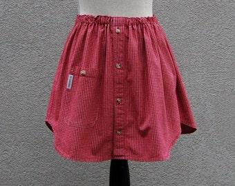 Shirt Skirt Girls size 6,  Upcycled Girl's Skirt, Shirt Refashion, School Skirt, Eco Friendly Kids