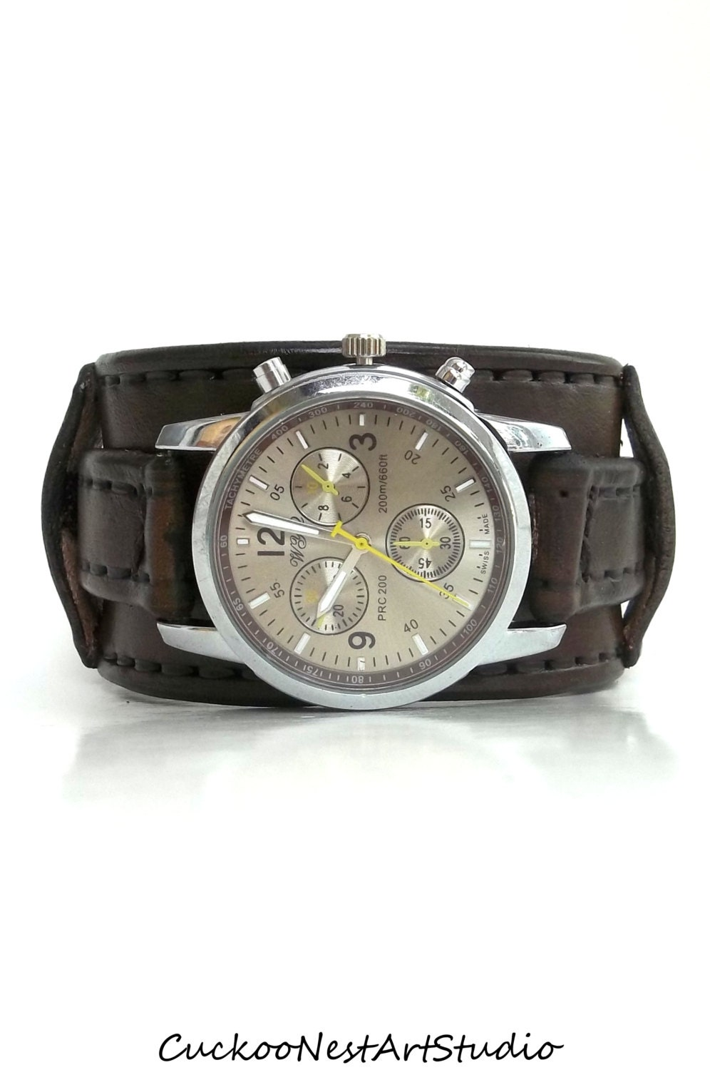Leather Cuff Watch Mens Wrist Watch Leather Men's watch