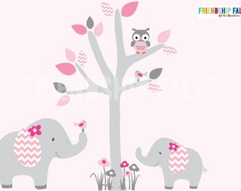Mini Jungle Decals, Small elephant Wall Decal, Nursery Wall Decal, Elephant, Friendship Falls wall decal, Pink Rose Scene