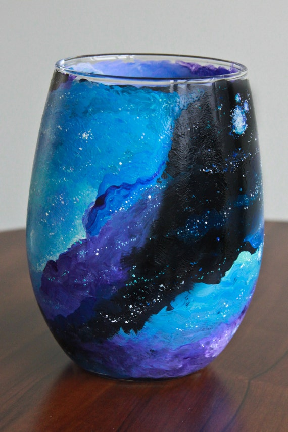 Galaxy wine glass hand painted stemless wine glass for Painted stemless wine glasses