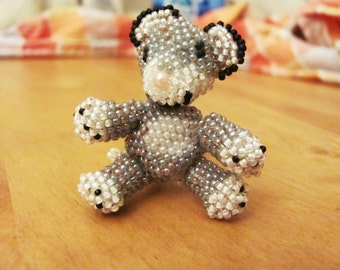 Cute Miniature hand beaded white and grey smiley tiger stuffed animal