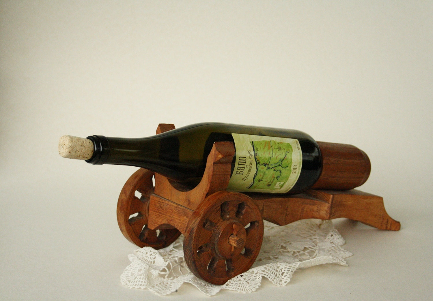Vintage Handmade Wooden Wine Bottle Holder Vintage Antique