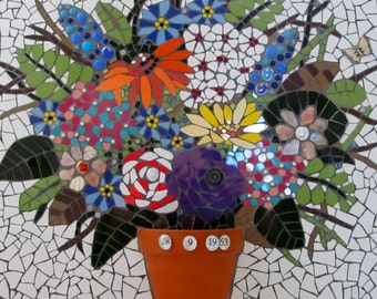 A unique piece of mosaic art; personalised wedding or anniversary gift; for the home or garden