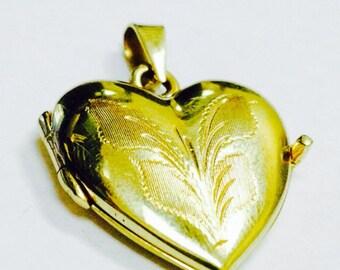 14K Yellow Gold Heart Locket - 14K Gold Heart Pendant - Gold Heart - 14K Heart Locket - 14K Gold Locket - Gold Pendant - 14K Heart Pendant