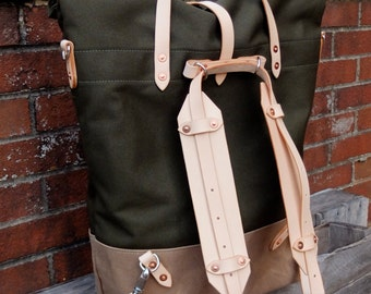 Waxed Canvas Roll Top Rucksack Backpack Option - Leather Straps/Handles/ Waxed Canvas Bag -Large Olive/British Tan Bag Perfect for Traveling