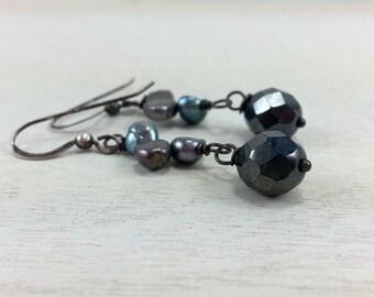 SALE - Gray Pearl Nugget Earrings / Czech Glass / Oxidized Sterling SIlver