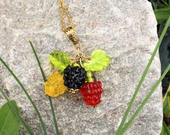 Raspberries Pendant lampwork, glass pendant, murano glass, glass berries, glass jewelry, lampwork jewelry