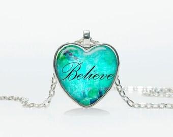 Heart pendant Believe Heart necklace word Believe jewelry  Heart shape Heart pendant