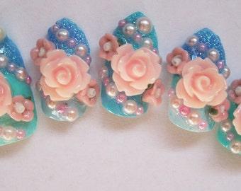 """3D deco nails- """"Let them eat cake"""""""