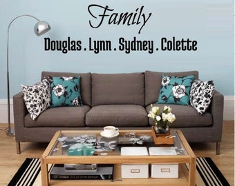 Family Wall Decal with names- Family Wall Decal - Family Decor - Family Decal Sticker - Family Room Decal - Family Decorations