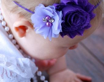 Purple and Lavender, Valentine Headband, Baby Headband, Shabby Chic, Hair Bow, Lavender Headband, Purple Headband, Hard Headband