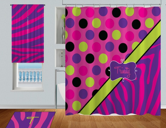 Items similar to personalized kids shower curtain bright for Bright childrens fabric