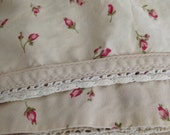 Ralph Lauren Calico-Cottage, Farmhouse, Prairie, Tea Stain with Red Rosebuds, Crocheted Lace- Queen Flat Sheet- Woodstock Garden CALICO