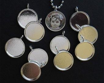 25 Mini Round Pendant Trays - Photo Trays - Cabochon Trays - Cabochon Settings