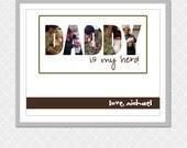 DADDY is my hero Picture Word- Custom Digital Print- 8x10- EOgdenAve