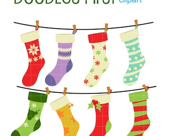 Christmas Stockings Digital Clip Art for Scrapbooking Card Making Cupcake Toppers Paper Crafts