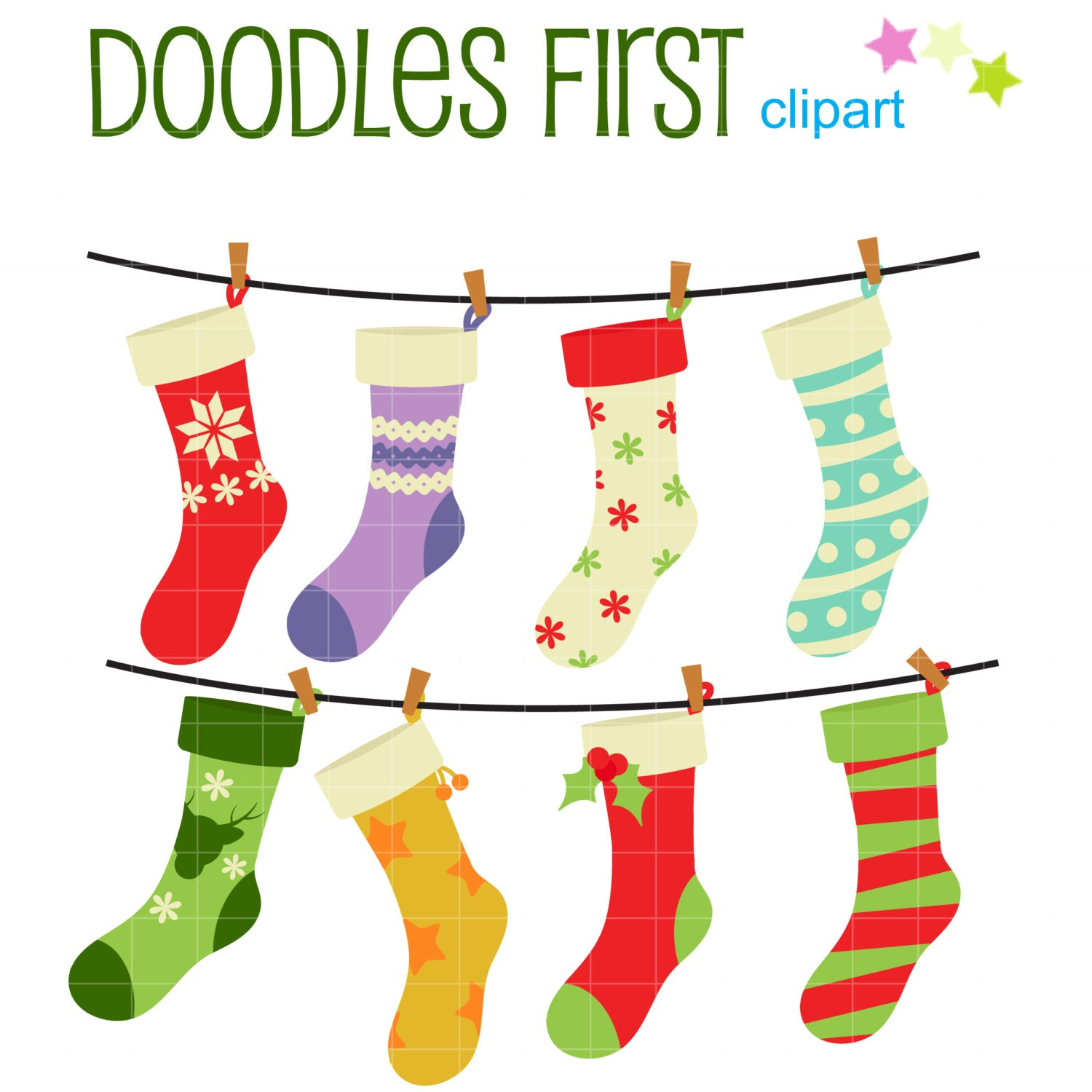 Christmas Stockings Digital Clip Art for by DoodlesFirst on Etsy