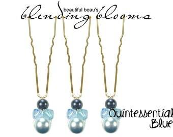 Powder Blue, Aquamarine, Midnight Blue Hair Pin wedding hair accessory, bridal hair accessory, bridesmaid hair accessory, wedding hair clip