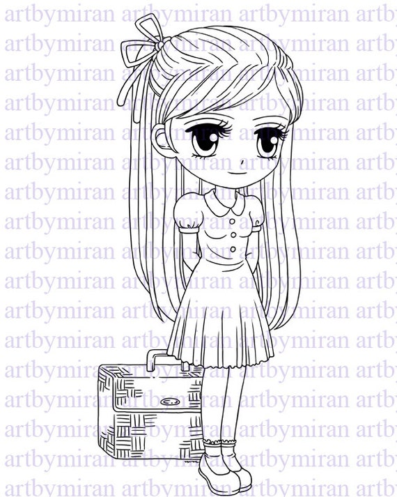Digital Stamp-Travelling Tracy, Digi Stamp, Coloring page, Printable Line art for Card and Craft Supply