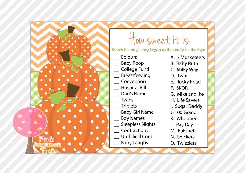 how sweet it is baby shower game for pumpkin by pinklemonadetree