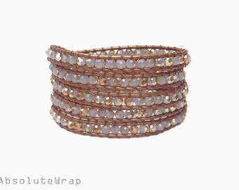 Gray gold crystal wrap bracelet on metallic golden brown leather cord
