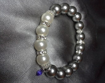Pearls in Dark Gray and White and Crystals Stretch Custom Bracelet embellished with crystals from Swarovski®