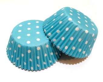 Light Baby Blue White Polka Dot Cupcake Liners (50)