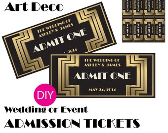 Gatsby / Art Deco Wedding or Event ADMISSION TICKETS - Black and Gold