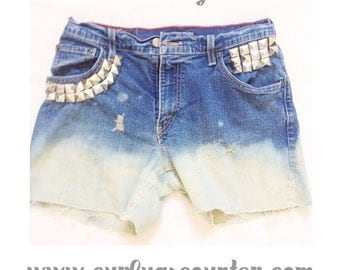 The Hierarchy Shorts - Studded Shorts - Custom Fashion Jeans Studded, Distressed, High Waisted, Dip Dyed Shorts