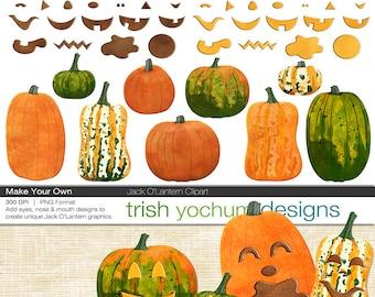 Halloween Jack O'Lantern Clipart - Pumpkin Jack O'Lantern Digital PNGs - Halloween Fall - Make Your Own Scrapbook ClipArt - Instant Download