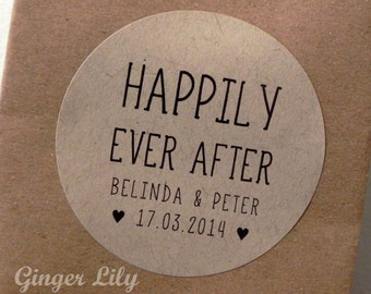 Happily Ever After Personalised Favour Stickers - Kraft with Black Ink - Pack of 12