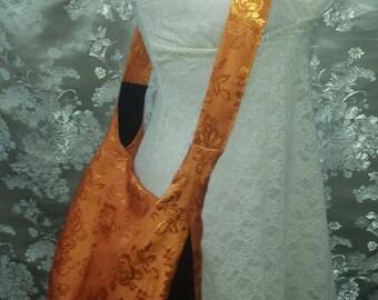 Hobo Bag - Orange Shiny Brocade