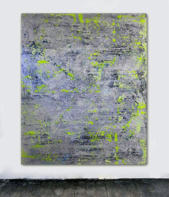 Large abstract painting canvas art neon yellow black and white for Neon yellow wall paint
