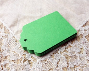 Tags GREEN Hang Tags, 25 Wedding Favor Tags, Party Gift Tags, Die cuts Scrapbook 2.25x1.5 in, cardstock