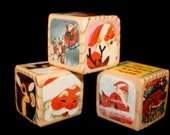 Rudolph The Red Nosed Reindeer - Vintage Childrens Wooden Blocks - Little Golden Book - Christmas Decor - 1.5 Inches