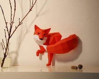 Petite sculpture de papier coupé, Fox bricolage