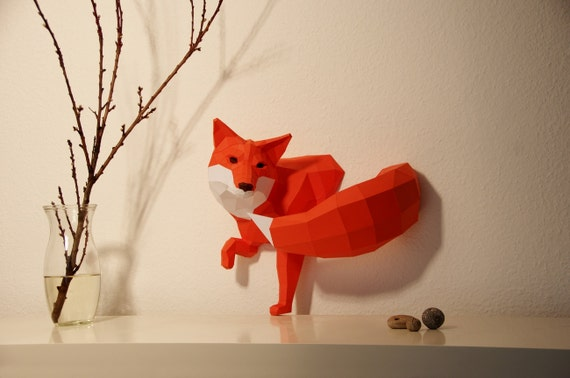 Little Fox sculpture, DIY, Paperwolf kit