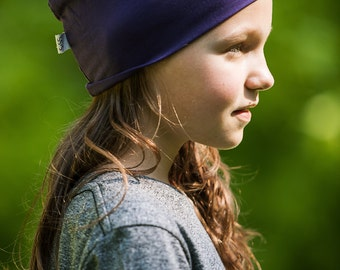 beanie hat for kids/ plum/ organic cotton