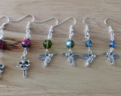 Fairy and Hummingbird Earrings with Olive and Montana Blue Czech Glass Beads and Pink Mottled Marble Effect Beads