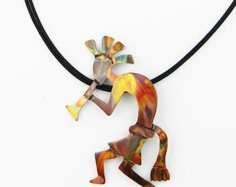 Handcrafted Kokopelli pendant, Kokopelli necklace, Kokopelli jewelry, desert southwest, primitive art, flame painted, fire torched copper