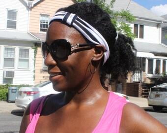 Black and White Striped Headband/Turband