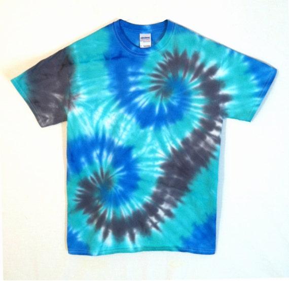 Tie dye t shirt blue and black spirals by rainboweffectstiedye for Black and blue tie dye t shirts