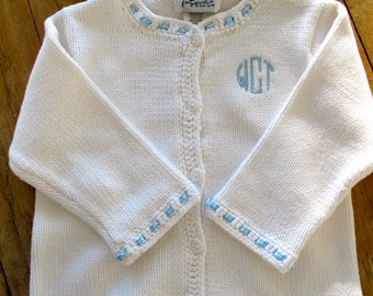 Blue Monogrammed Baby Sweater